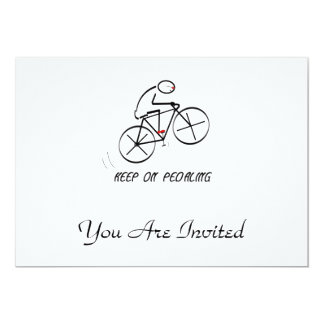 """Fun Bicyclist Design with """"Keep On Pedaling"""" text Card"""