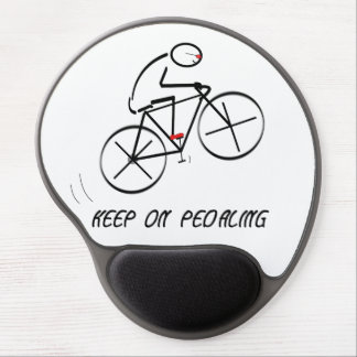 """Fun Bicyclist Design with """"Keep On Pedaling"""" text Gel Mouse Pad"""