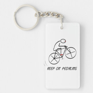 """Fun Bicyclist Design with """"Keep On Pedaling"""" text Keychain"""