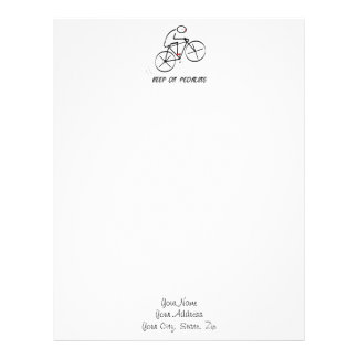 """Fun Bicyclist Design with """"Keep On Pedaling"""" text Letterhead"""