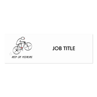 """Fun Bicyclist Design with """"Keep On Pedaling"""" text Mini Business Card"""