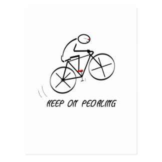 "Fun Bicyclist Design with ""Keep On Pedaling"" text Postcard"