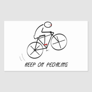"Fun Bicyclist Design with ""Keep On Pedaling"" text Rectangular Sticker"