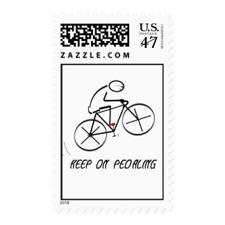 "Fun Bicyclist Design with ""Keep On Pedaling"" text Stamp"