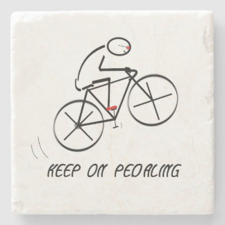 "Fun Bicyclist Design with ""Keep On Pedaling"" text Stone Coaster"