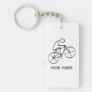 """Fun Bicyclist Design with """"Pedal Power"""" text Keychain"""