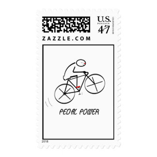 "Fun Bicyclist Design with ""Pedal Power"" text Postage"