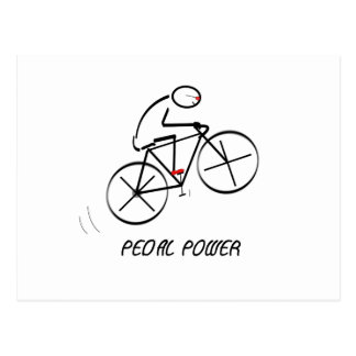 "Fun Bicyclist Design with ""Pedal Power"" text Postcard"