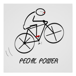 """Fun Bicyclist Design with """"Pedal Power"""" text Poster"""