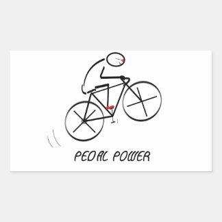 "Fun Bicyclist Design with ""Pedal Power"" text Rectangular Sticker"