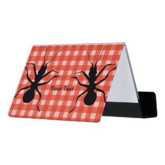 Fun Big Black Ants on Picnic Table Cloth Plaid Desk Business Card Holder