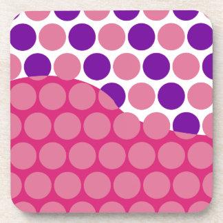 Fun Big Pink and Purple Polka Dots Wave Pattern Drink Coaster