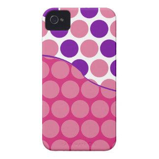 Fun Big Pink and Purple Polka Dots Wave Pattern iPhone 4 Case