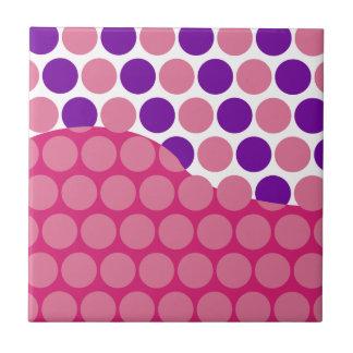 Fun Big Pink and Purple Polka Dots Wave Pattern Tile