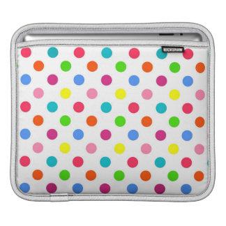 Fun big polka dots red yellow green pink orange iPad sleeves