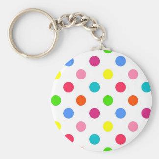 Fun big polka dots red yellow green pink orange keychain