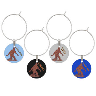 Fun Bigfoot Sasquatch Yeti Cryptid Party Set Wine Glass Charm