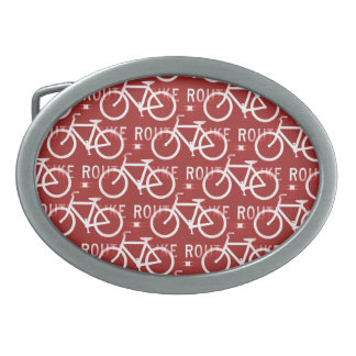 Fun Bike Route Fixie Bicycle Cyclist Pattern Red Oval Belt Buckle