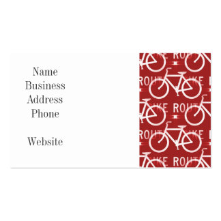 Fun Bike Route Fixie Bicycle Cyclist Pattern Red Business Card