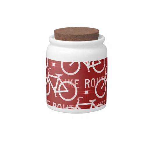Fun Bike Route Fixie Bicycle Cyclist Pattern Red Candy Jar