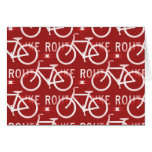 Fun Bike Route Fixie Bicycle Cyclist Pattern Red Cards