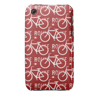 Fun Bike Route Fixie Bicycle Cyclist Pattern Red iPhone 3 Covers