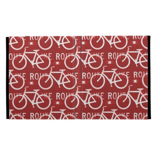 Fun Bike Route Fixie Bicycle Cyclist Pattern Red iPad Folio Cases