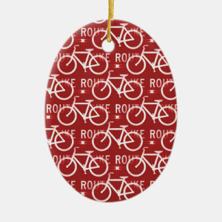 Fun Bike Route Fixie Bicycle Cyclist Pattern Red Ceramic Ornament