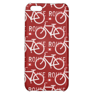 Fun Bike Route Fixie Bicycle Cyclist Pattern Red Cover For iPhone 5C