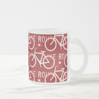 Fun Bike Route Fixie Bicycle Cyclist Pattern Red Frosted Glass Coffee Mug