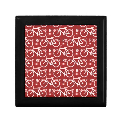 Fun Bike Route Fixie Bicycle Cyclist Pattern Red Gift Box