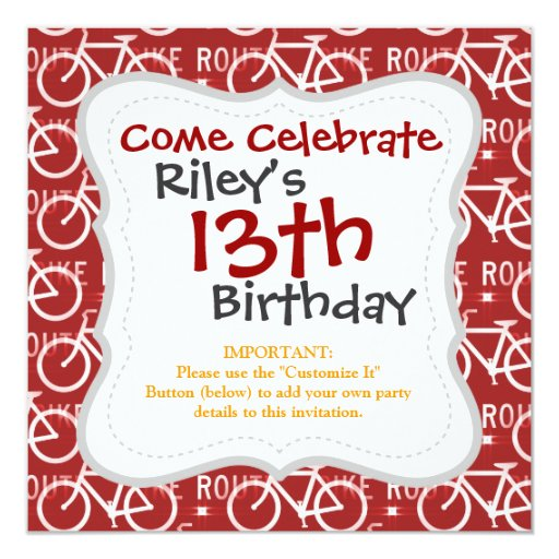 Fun Bike Route Fixie Bicycle Cyclist Pattern Red Invitation