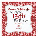 """Fun Bike Route Fixie Bicycle Cyclist Pattern Red 5.25"""" Square Invitation Card"""