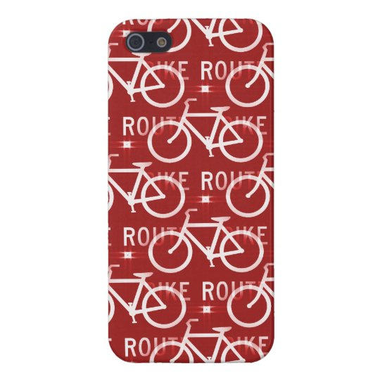 Fun Bike Route Fixie Bicycle Cyclist Pattern Red iPhone SE/5/5s Cover