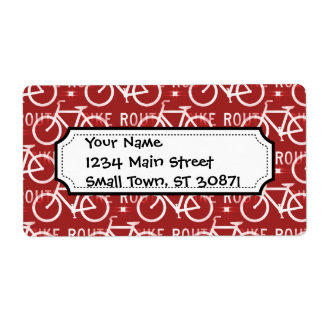Fun Bike Route Fixie Bicycle Cyclist Pattern Red Shipping Label