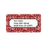 Fun Bike Route Fixie Bicycle Cyclist Pattern Red Personalized Address Label
