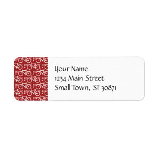 Fun Bike Route Fixie Bicycle Cyclist Pattern Red Return Address Label