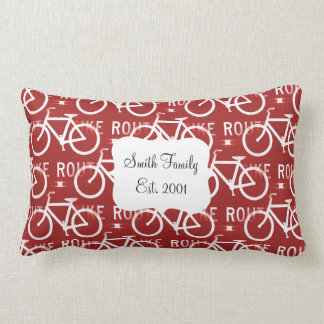 Fun Bike Route Fixie Bicycle Cyclist Pattern Red Lumbar Pillow