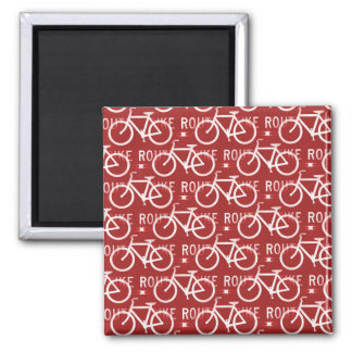 Fun Bike Route Fixie Bicycle Cyclist Pattern Red Magnet