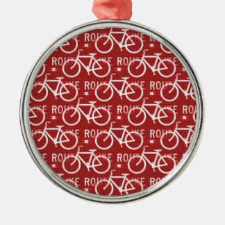 Fun Bike Route Fixie Bicycle Cyclist Pattern Red Metal Ornament