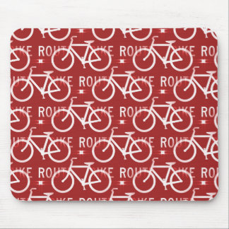 Fun Bike Route Fixie Bicycle Cyclist Pattern Red Mouse Pad