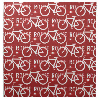 Fun Bike Route Fixie Bicycle Cyclist Pattern Red Napkin