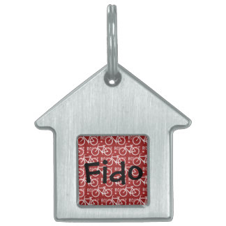Fun Bike Route Fixie Bicycle Cyclist Pattern Red Pet Name Tags