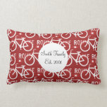 Fun Bike Route Fixie Bicycle Cyclist Pattern Red Pillow