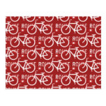 Fun Bike Route Fixie Bicycle Cyclist Pattern Red Postcard