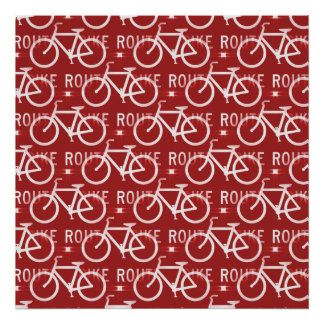 Fun Bike Route Fixie Bicycle Cyclist Pattern Red Poster