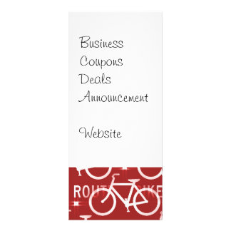 Fun Bike Route Fixie Bicycle Cyclist Pattern Red Rack Cards
