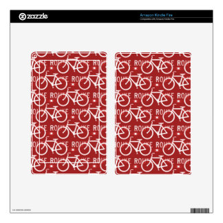 Fun Bike Route Fixie Bicycle Cyclist Pattern Red Decal For Kindle Fire