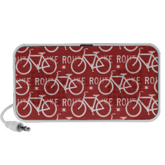 Fun Bike Route Fixie Bicycle Cyclist Pattern Red iPhone Speakers