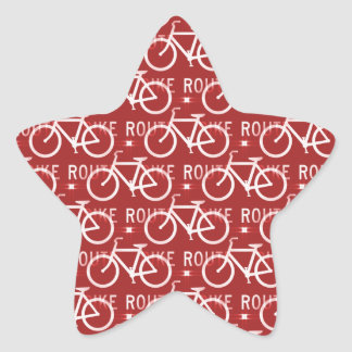 Fun Bike Route Fixie Bicycle Cyclist Pattern Red Star Sticker